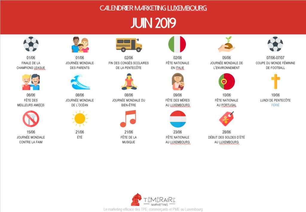 calendrier marketing évènements luxembourg 2019 agence freelance téméraire marketing luxembourg